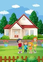 cena de casa ao ar livre com muitas crianças vetor