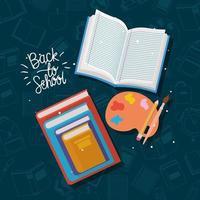 livros e materiais de volta às aulas vetor