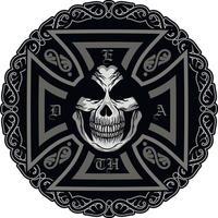 sinal gótico com caveira e cruz, camisetas com design vintage grunge vetor
