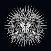 sinal gótico com crânio de carneiro e olho da providência em triângulo, camisetas grunge vintage design vetor