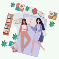 mulheres jovens relaxando no colchão no quarto vetor