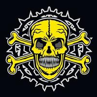 letreiro gótico com caveira e osso, camisetas com design vintage grunge vetor