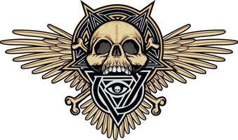 letreiro gótico com caveira e olho da providência em triângulo, camisetas grunge vintage design vetor
