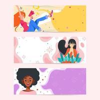 conjunto de faixas fofas de ativismo do dia da mulher vetor