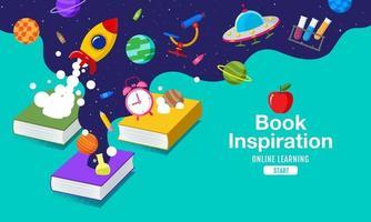 inspiração de livro, ideias saindo de livros e para o espaço, ilustração vetorial. vetor