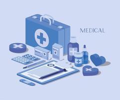 design isométrico de kit médico
