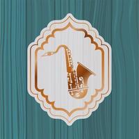 saxofone musical em moldura com fundo de madeira vetor