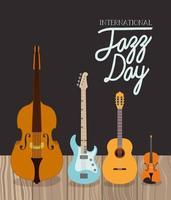pôster do dia do jazz com instrumentos de corda vetor