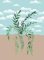 planta em uma cena de jardim vetor
