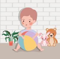 bebezinho com brinquedos vetor
