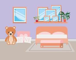 bela cena de casa de quarto de cama vetor