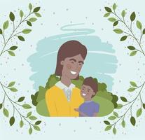 cartão de feliz dia dos pais com personagens de pai e filho