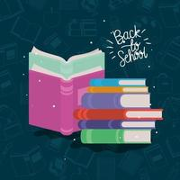 livros didáticos suprimentos de volta às aulas vetor