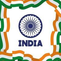 Ashoka chakra com bandeira indiana dia da independência vetor