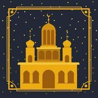 moldura com construção de mesquita dourada