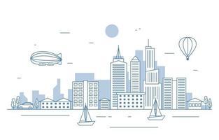 cidade, paisagem, paisagem, rio, ilustração vetor