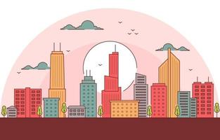 ilustração do horizonte da cidade ao pôr do sol vetor