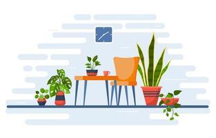 planta de casa tropical verde planta decorativa ilustração de casa vetor