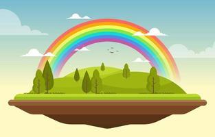 bela paisagem flutuante arco-íris verão natureza ilustração vetor