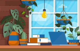 planta de casa tropical planta decorativa verde em ilustração de espaço de trabalho de escritório