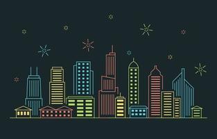 noite cidade urbana construção paisagem urbana linha ilustração vetor
