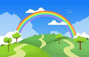 ilustração do cenário da paisagem da natureza do arco-íris da estrada sinuosa vetor
