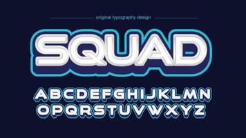 tipografia de logotipo de jogo 3d branco e azul