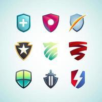 conceitos de logotipo de escudo colorido para várias finalidades vetor
