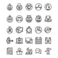 conjunto de ícones de inicialização com estilo de arte de linha vetor