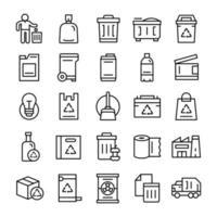 conjunto de ícones de lixo com estilo de arte de linha vetor
