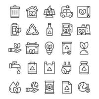 conjunto de ícones de ecologia com estilo de arte de linha vetor