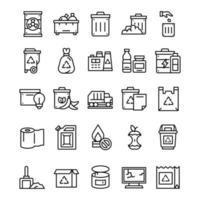 conjunto de ícones de resíduos com estilo de arte de linha vetor