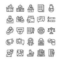 conjunto de ícones de votação e eleição com estilo de arte de linha