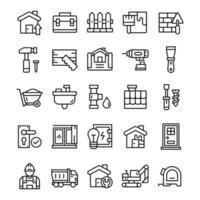 conjunto de ícones de casa e renovação com estilo de arte de linha. vetor