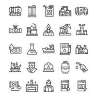 conjunto de ícones da indústria de petróleo com estilo de arte de linha. vetor