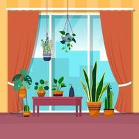 planta de casa tropical verde planta decorativa ilustração casa janela vetor