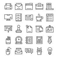 conjunto de ícones de escritório com estilo de arte de linha. vetor