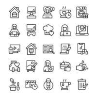 conjunto de ícones de ficar em casa com estilo de arte de linha. vetor