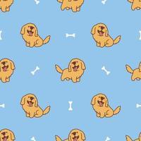 padrão sem emenda de desenho animado de cão golden retriever fofo vetor