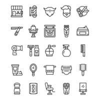 conjunto de ícones de barbearia com estilo de linha de arte. vetor