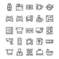conjunto de ícones do hotel com estilo de arte de linha.