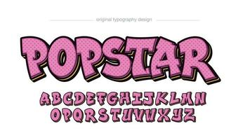 tipografia de graffiti rosa fofa de desenho animado vetor