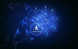 correndo com relógio inteligente. conceito de tecnologia para verificar a saúde durante o exercício.