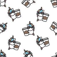 unicórnio fofo adora café desenho padrão sem emenda, ilustração vetorial vetor