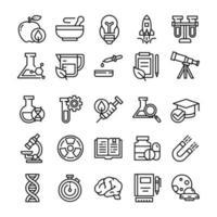 conjunto de ícones de ciência com estilo de arte de linha. vetor