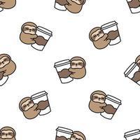 a preguiça fofa adora café desenho padrão sem emenda, ilustração vetorial vetor