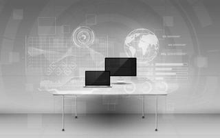 escritório com dispositivos modernos e dados digitais em telas de holograma vetor