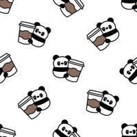 panda fofo adora café desenho padrão sem emenda, ilustração vetorial vetor