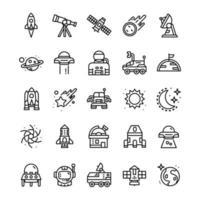 conjunto de ícones do espaço com estilo de arte de linha. vetor
