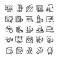 conjunto de ícones de marketing com estilo de arte de linha. vetor